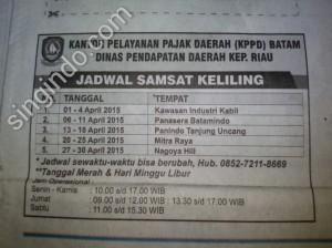 Samsat Keliling Kota Batam 1 April - 30 April 2015