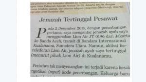 Ada Jenazah Tertinggal Di Penerbangan Lion Air JT 0196 Jakarta – Medan – Banda Aceh