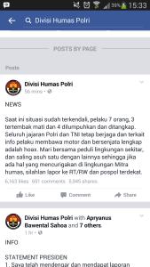 Divisi Humas Polri Situasi Terkendali, Pelaku 7 Orang 3 Tertembak Mati dan 4 Dilumpuhkan dan Ditangkap