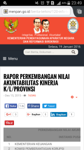 Kinerja Pemerintah Provinsi Tahun 2015