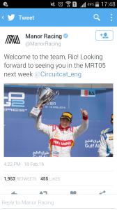 Rio Haryanto Resmi Bergabung dengan Manor Racing, Pertama Dalam Sejarah Republik Indonesia!