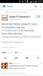 Breaking News! Global TV Resmi Mendapatkan Hak Siar F1 Australia 2016