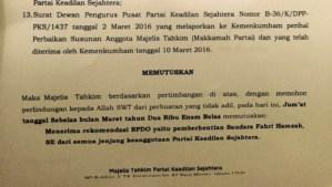 Fahri Hamzah Dipecat PKS, Ini Penampakan Surat Keputusannya